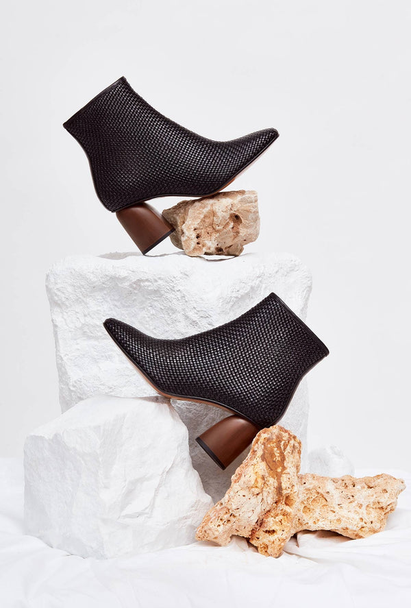 PILAR - Black Woven Leather Boots