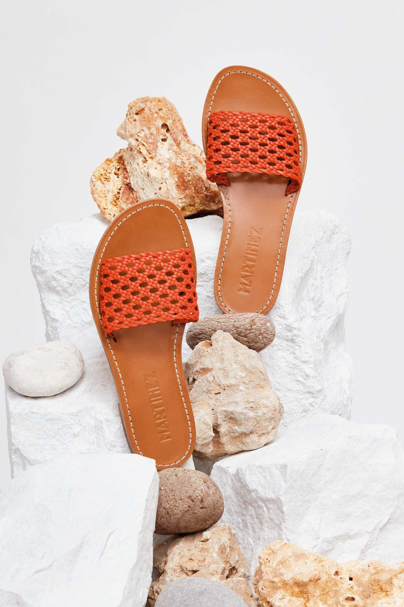 PLAYA REJILLA - Orange Woven Leather Beach Sandals
