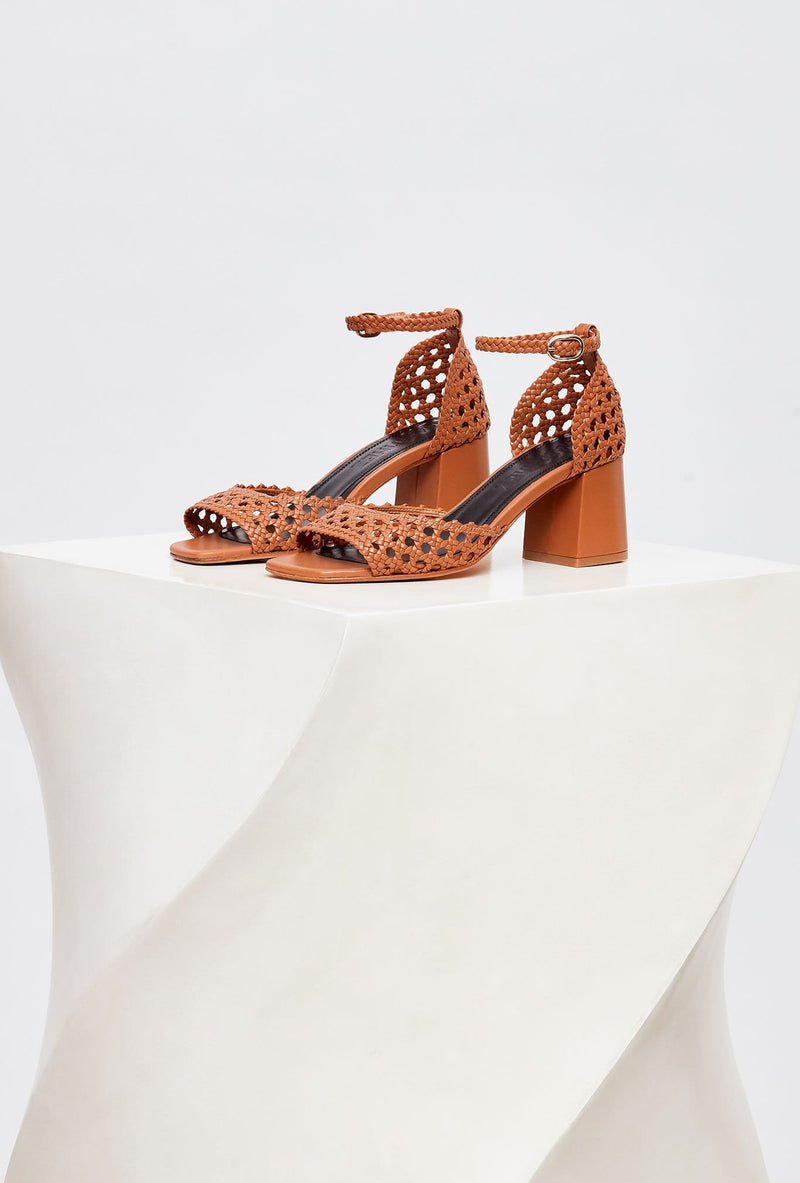 Pair of Tan Handwoven Leather Designer Sandals, model PROCIDA, by French Designer Shoes brand Souliers Martinez, side view