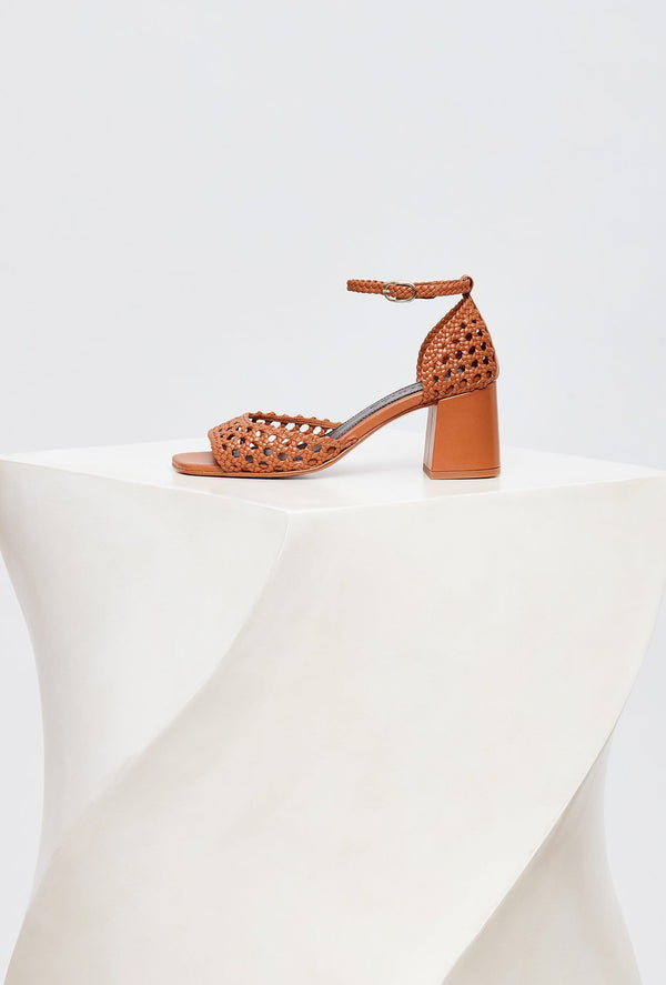 Tan Handwoven Leather Designer Sandals, model PROCIDA, by French Designer Shoes brand Souliers Martinez, side view of the left shoe