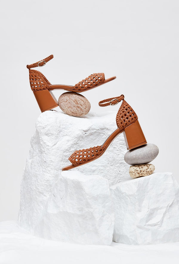 Pair of Tan Handwoven Leather Designer Sandals, model PROCIDA, by French Designer Shoes brand Souliers Martinez