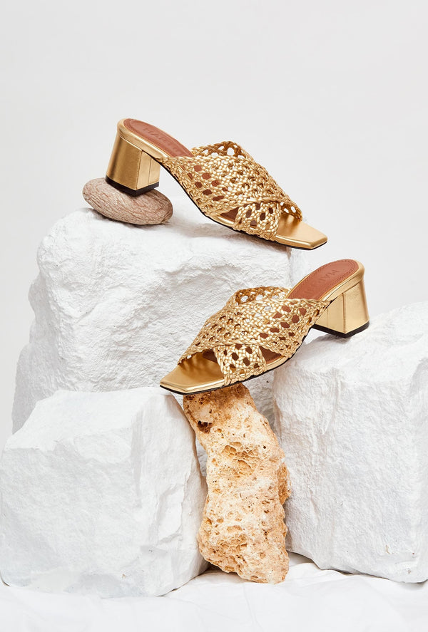 SARA - Exclusive - Venus Woven Leather Mules