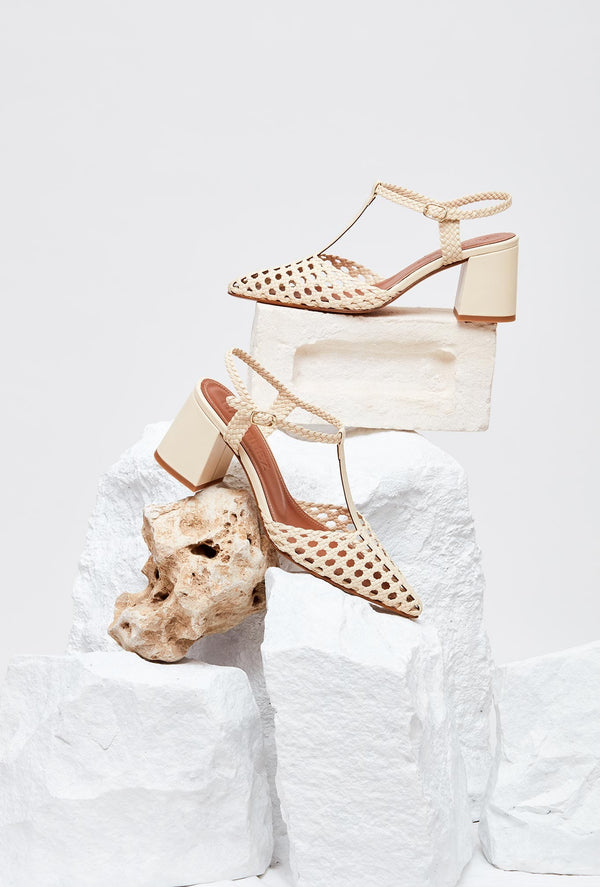 Pair of Off-White Leather Designer Heels, model SEVILLA, by French Designer Shoes brand Souliers Martinez