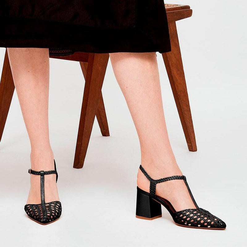 SEVILLA - Black Woven Leather T-Bar Pump