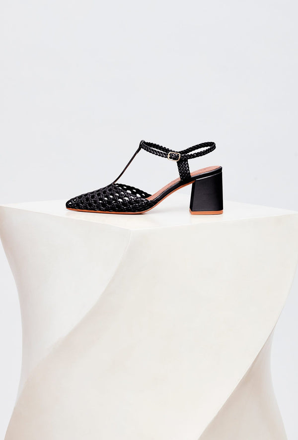 Black Handwoven Leather Designer Heels, model SEVILLA, by French Designer Shoes brand Souliers Martinez, side view of the left shoe