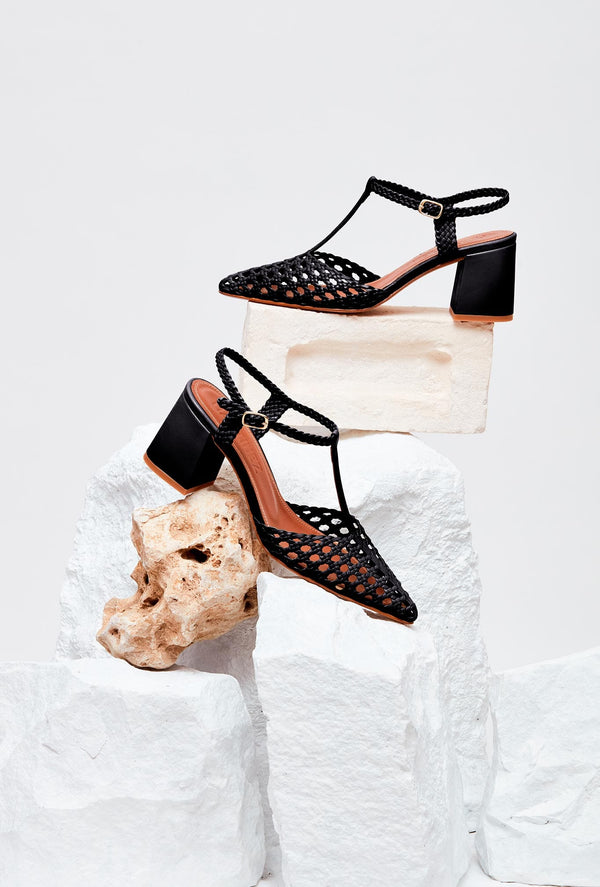 Pair of Black Handwoven Leather Designer Heels, model SEVILLA, by French Designer Shoes brand Souliers Martinez