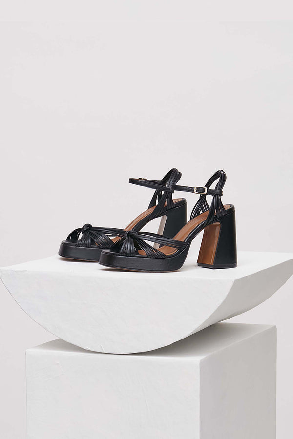 SPRINGS - Black Leather Platform Sandals