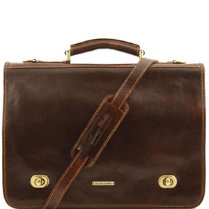 Siena - Leather messenger bag 2 compartments (TL10054) - Leather briefcases | DILUSSOBAGS