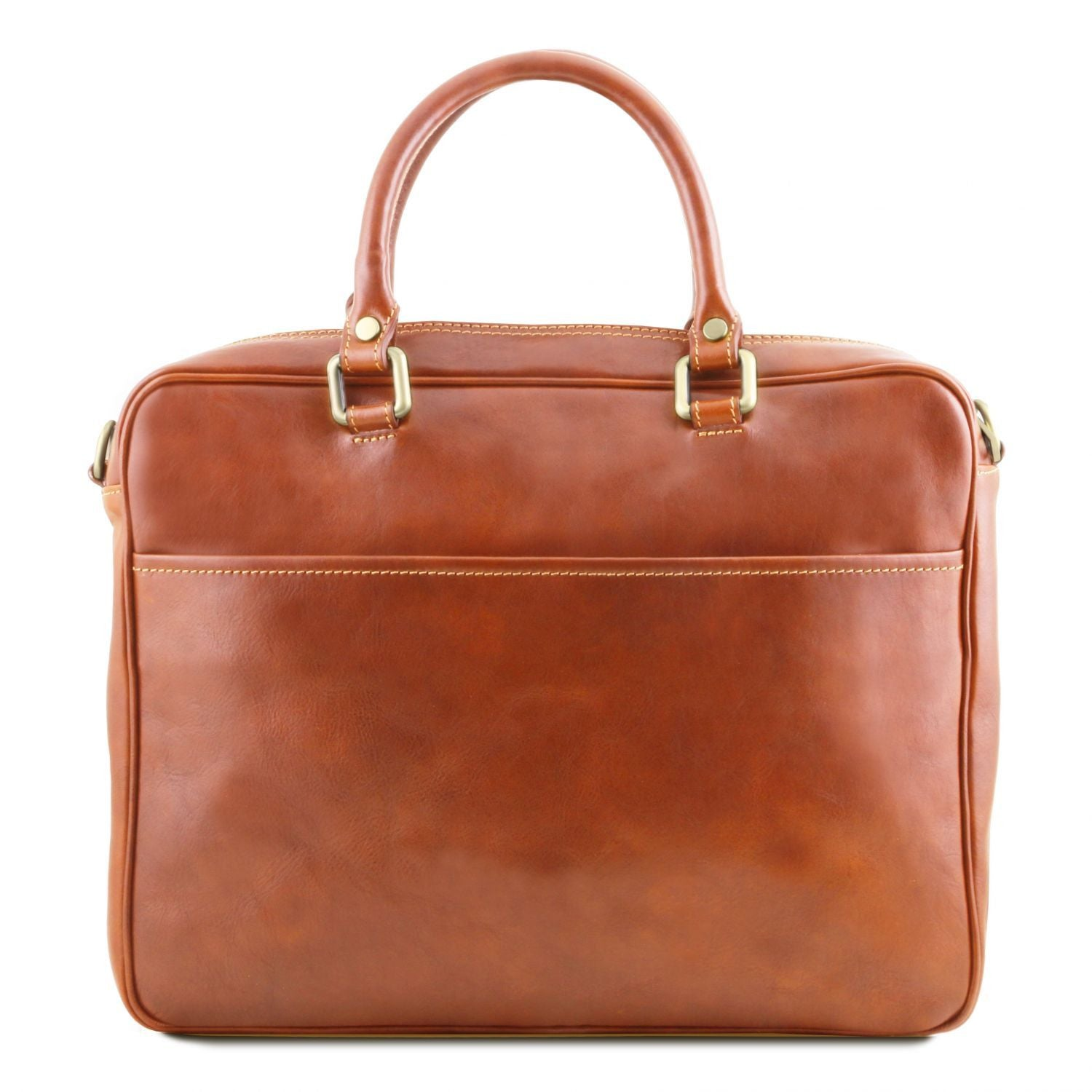 Pisa - Leather laptop briefcase with front pocket (TL141660) - Leather laptop bags | DILUSSOBAGS