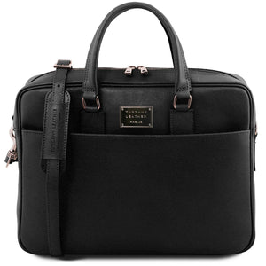 Urbino - Saffiano leather laptop briefcase with front pocket (TL141627) - Leather laptop bags | DILUSSOBAGS