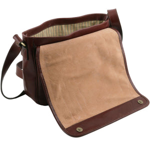 TL Messenger - One compartment leather shoulder bag - Medium size (TL141301) - Leather bags for men | DILUSSOBAGS