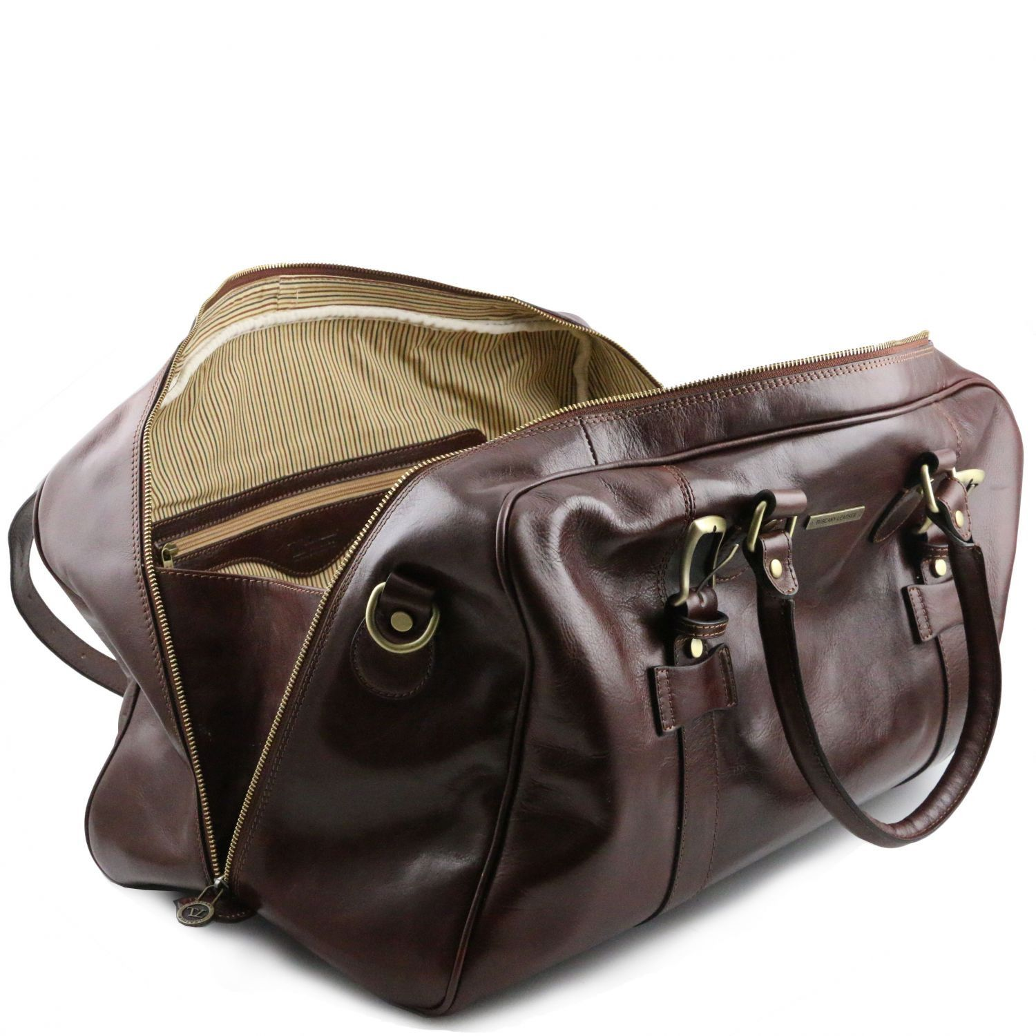 TL Voyager - Leather travel bag with front straps - Large size (TL141248) - Leather Travel bags | DILUSSOBAGS