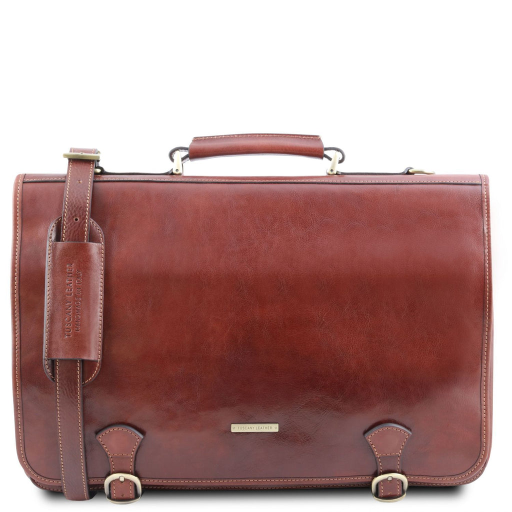 Ancona - Leather messenger bag (TL141853) - Leather briefcases | DILUSSOBAGS