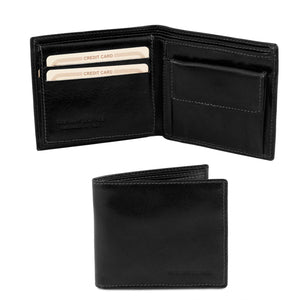 Exclusive 3 fold leather wallet with coin pocket (TL141377) - Leather wallets for men | DILUSSOBAGS