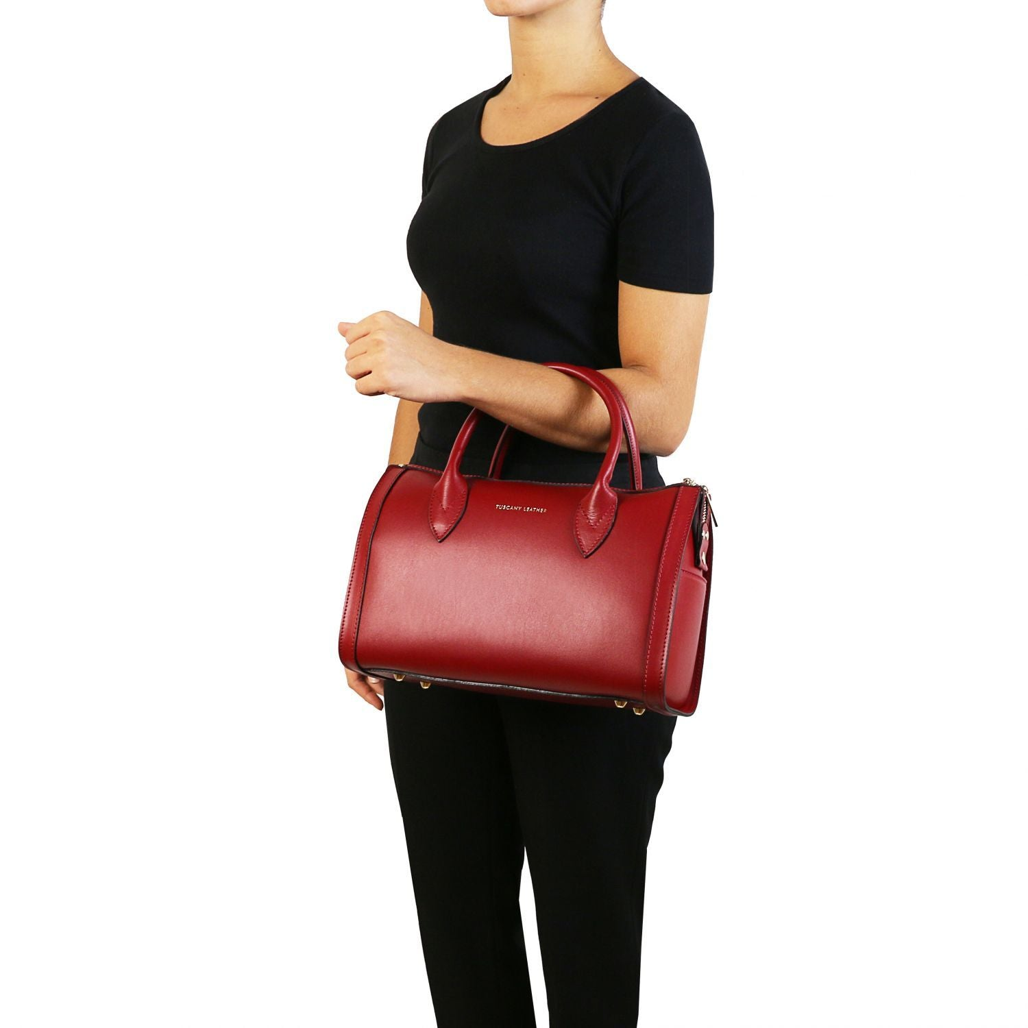 Elena - Leather duffle bag (TL141829) - Leather handbags | DILUSSOBAGS