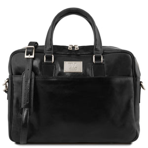 Urbino - Leather laptop briefcase with front pocket (TL141241) - Leather laptop bags | DILUSSOBAGS