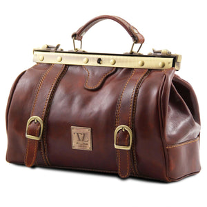 Monalisa - Doctor gladstone leather bag with front straps (TL10034) - Doctor bags | DILUSSOBAGS