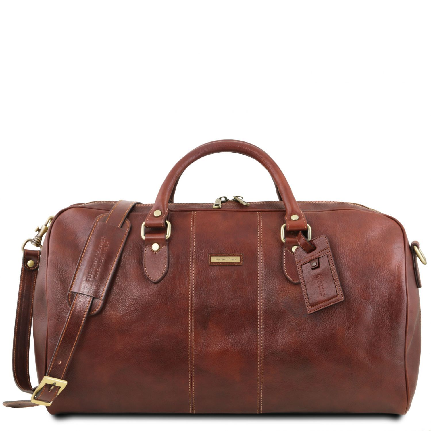 Lisbona - Travel leather duffle bag - Large size (TL141657) - Leather Travel bags | DILUSSOBAGS