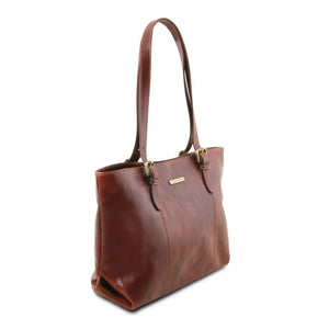 Annalisa - Leather shopping bag with two handles (TL141710) - Leather shoulder bags | DILUSSOBAGS