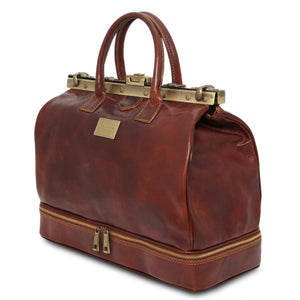Barcellona - Double-bottom Gladstone Leather Bag (TL141185) - Leather Travel bags | DILUSSOBAGS