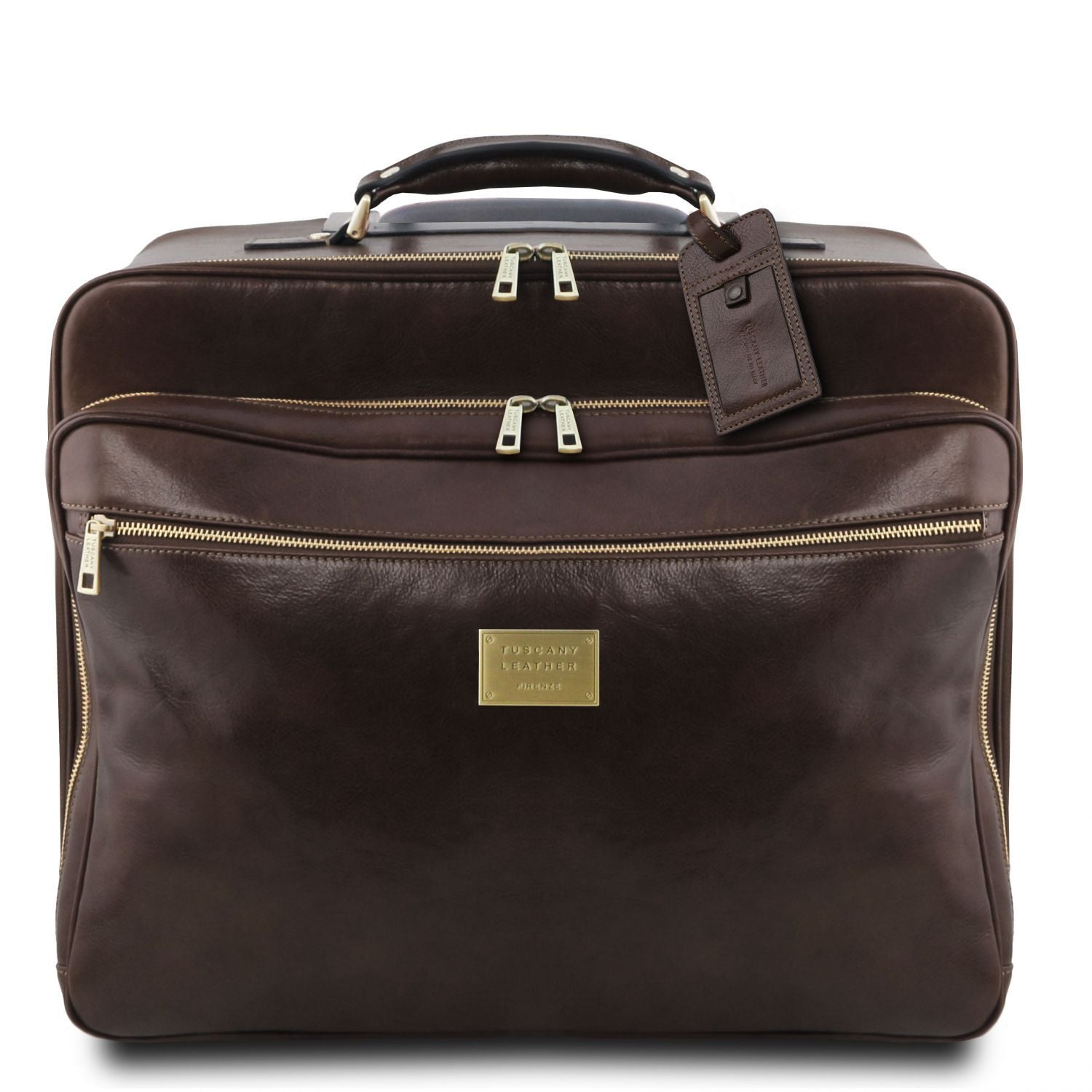 Varsavia - Leather pilot case with two wheels (TL141888) - Leather Wheeled luggage | DILUSSOBAGS