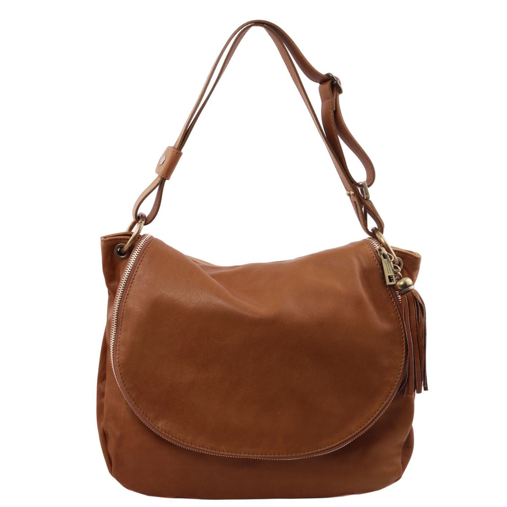 TL Bag - Soft leather shoulder bag with tassel detail (TL141110) - Leather shoulder bags | DILUSSOBAGS