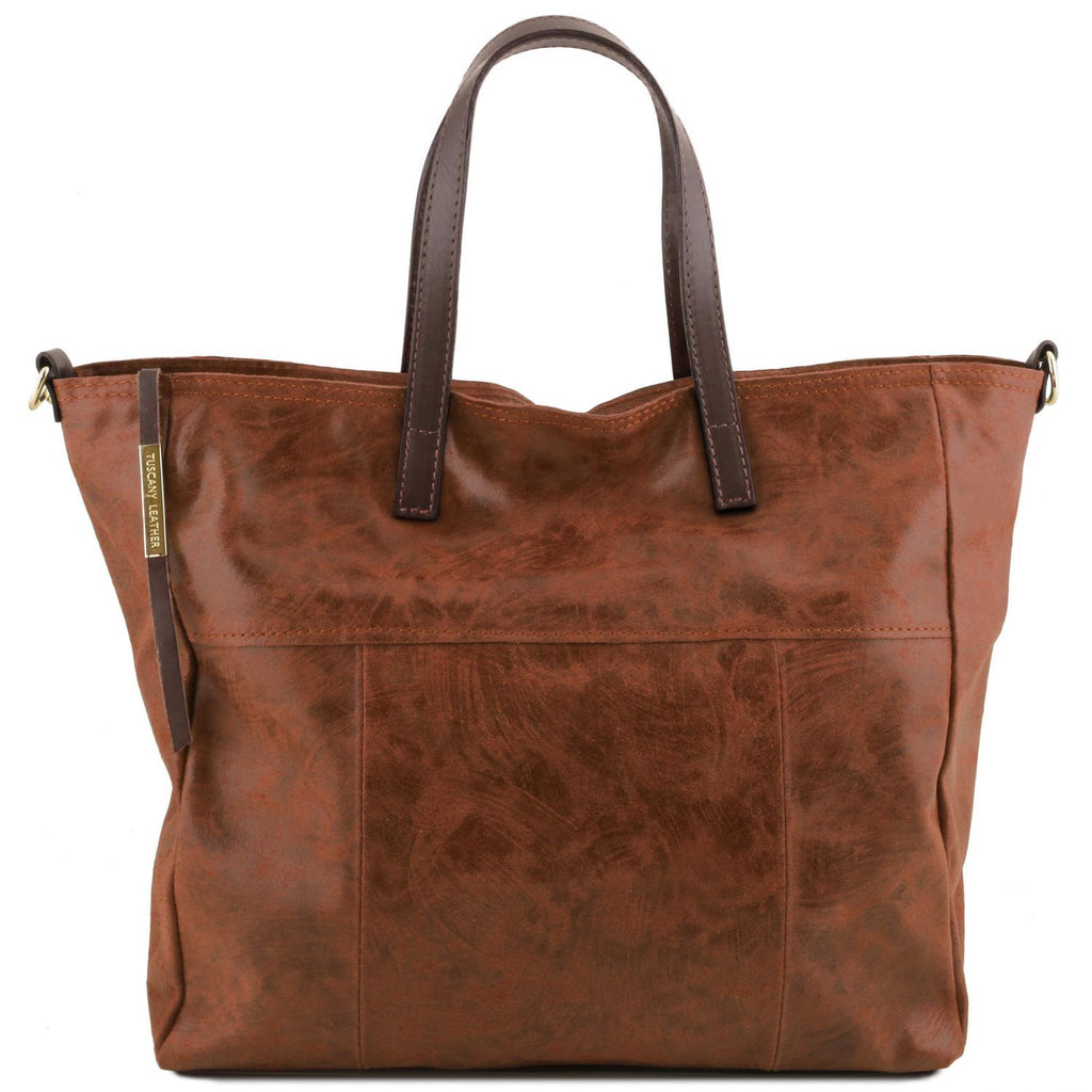 Annie - Aged effect leather TL SMART shopping bag (TL141552) - Leather handbags | DILUSSOBAGS