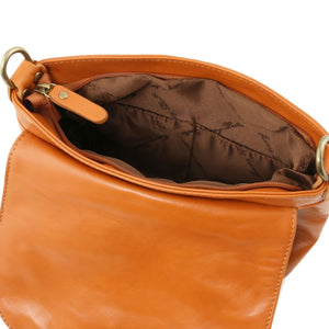 TL Bag - Soft leather shoulder bag with tassel detail (TL141223) - Leather shoulder bags | DILUSSOBAGS