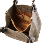 TL KeyLuck - Woven printed leather shopping bag (TL141573) - Leather shoulder bags | DILUSSOBAGS
