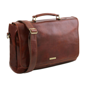 Mantova - Leather multi compartment TL SMART briefcase with flap (TL141450) - Leather briefcases | DILUSSOBAGS