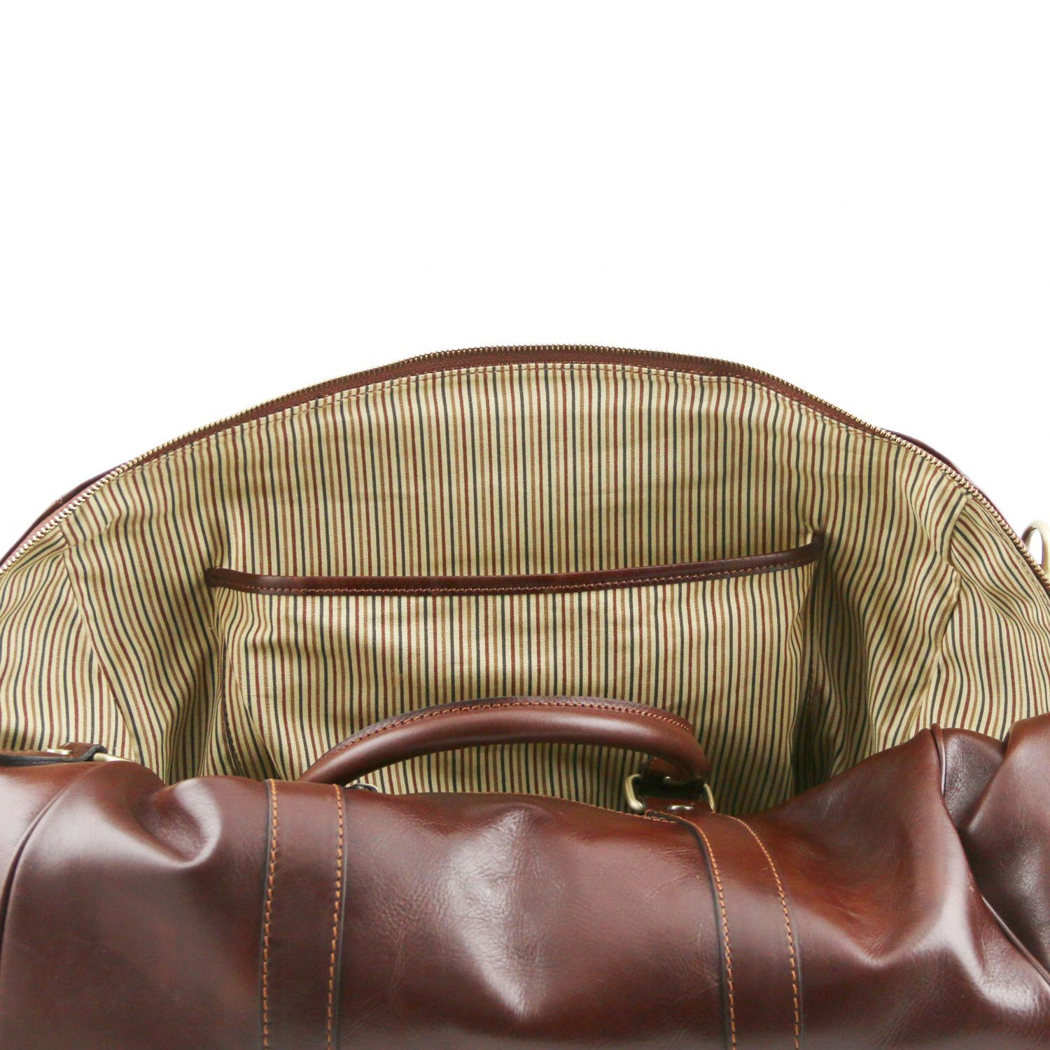 TL Voyager - Travel leather duffle bag with pocket on the back side - Small size (TL141250) - Leather Travel bags | DILUSSOBAGS