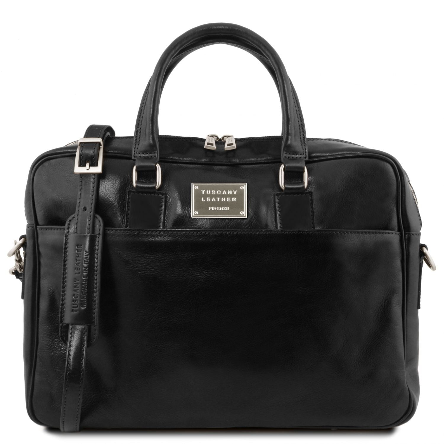 Urbino - Leather laptop briefcase 2 compartments with front pocket (TL141894) - Leather laptop bags | DILUSSOBAGS