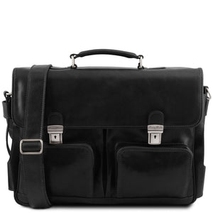 Ventimiglia - Leather multi compartment TL SMART briefcase with front pockets (TL141449) - Leather briefcases | DILUSSOBAGS
