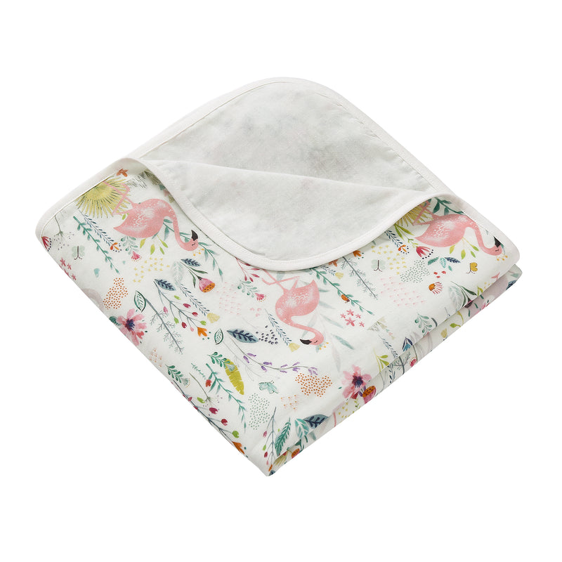 4 Layer Muslin Blanket - Flamingo
