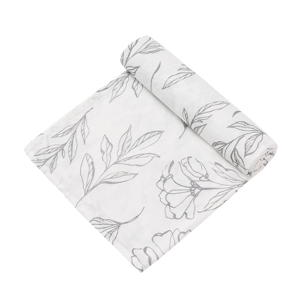2 Layer Muslin Blanket - Light Grey Lillys / Flying Fish - come in a 2 Pack