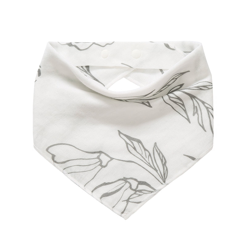 Baby Bib / Bandanna - Light Grey Lilly & Flying Fish (2 pack)
