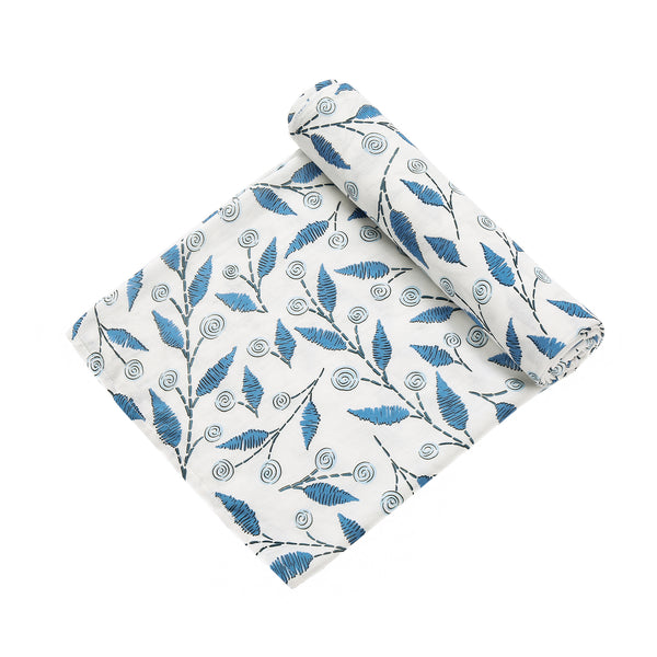2 Layer Muslin Blanket - Scribble Leaf / Flying Fish - come in a 2 Pack