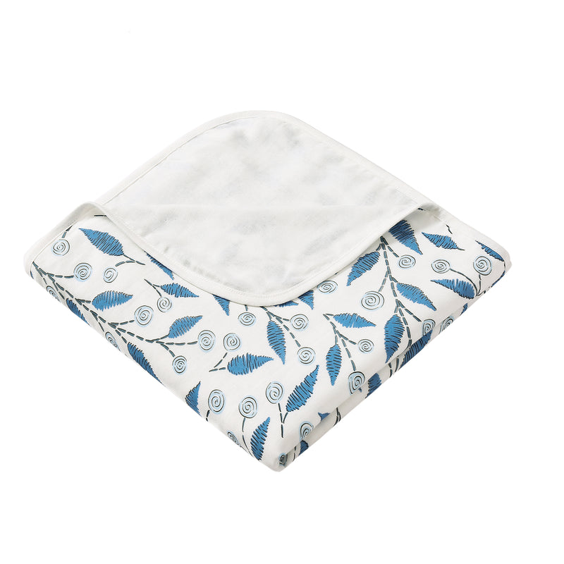 4 Layer Muslin Blanket - Scribble Leaf