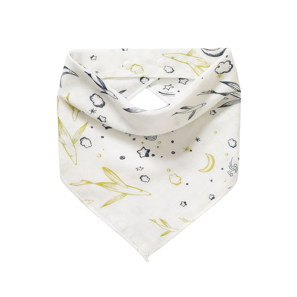 Baby Bib / Bandanna - Flying Fish / Light Grey Lilly (2 pack)