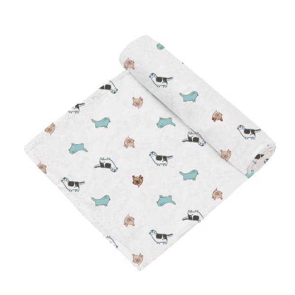 2 Layer Muslin Blanket - Doggies / Garden Dream - come in a 2 Pack