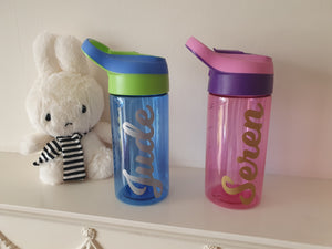Personalised small water bottle, ideal for children, sports, hydration, tritan, with amount indicator