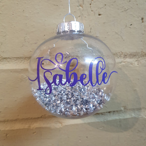 Personalised round baubles for the Christmas Tree