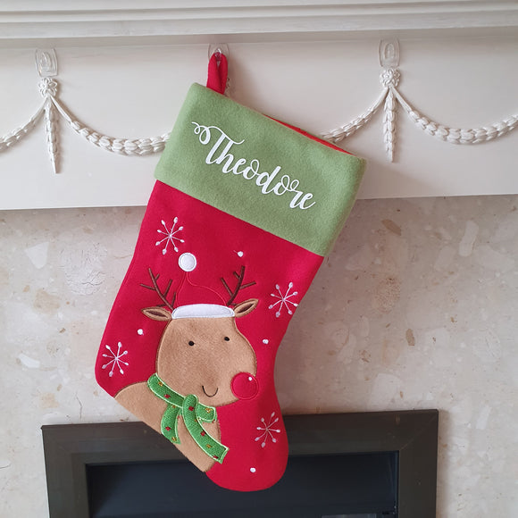 Cute Soft Rudolph Personalised Stocking for your little ones this Christmas