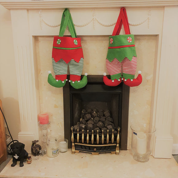 Cute Elf Leg Stockings | Personalised stockings this Christmas | Red and Green present fillers for Xmas 2020