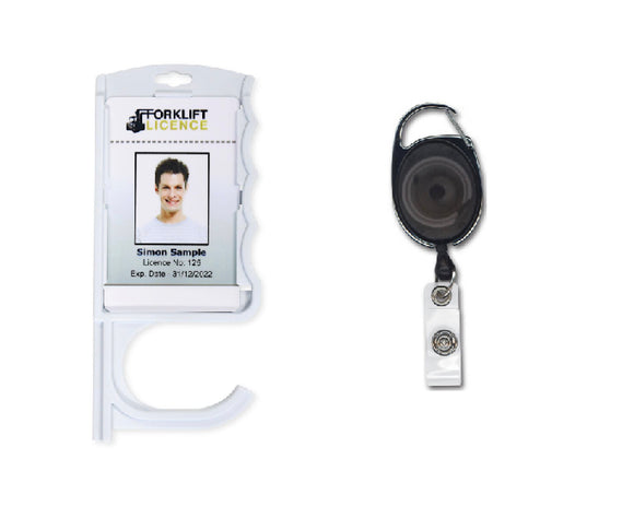 Antimicrobial Door Opening Badge Holder and extendable Keyring Identity Reel for contactless Door Opening