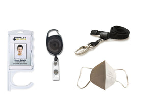 Back to work pack - Antimicrobial Door Opening Badge Holder, extendable Badge Reel, metal clip lanyard and face covering