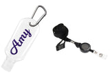Personalised Refillable Hand Sanitiser bottles with matching lanyard