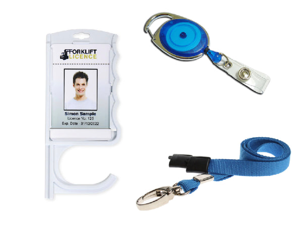 Antimicrobial Door Opening Badge Holder, Lanyard Neck Strap and extendable Keyring Identity Reel for contactless Door Opening