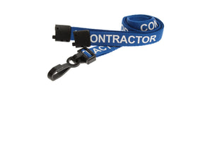 Blue Contractor Lanyard with plastic clip