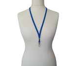 Blue plain neck strap lanyard with safety breakaway and metal lobster clip